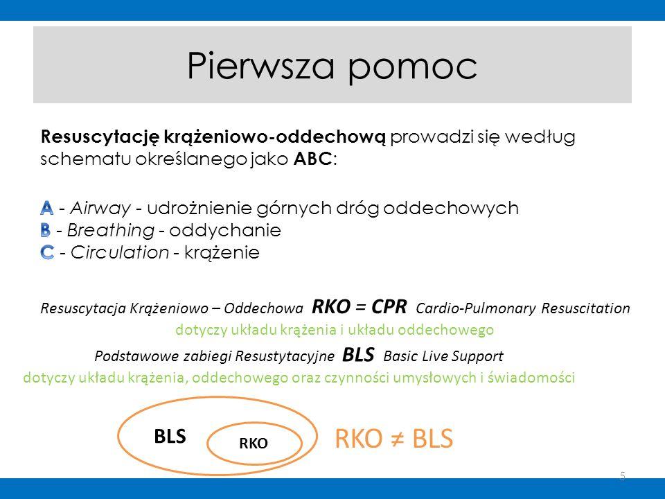 Pierwsza pomoc Resuscytacja Krążeniowo – Oddechowa RKO = CPR Cardio-Pulmonary Resuscitation dotyczy układu krążenia i układu oddechowego Podstawowe za