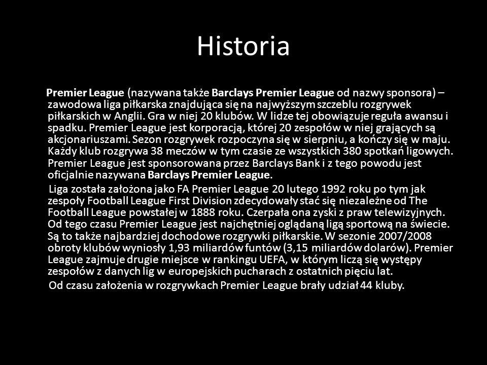 Historia Premier League (nazywana także Barclays Premier League od nazwy sponsora) – zawodowa liga piłkarska znajdująca się na najwyższym szczeblu roz
