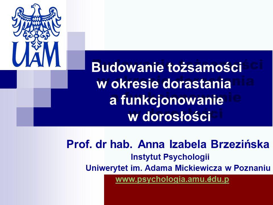 Budowanie tożsamości w okresie dorastania a funkcjonowanie w dorosłości Prof.