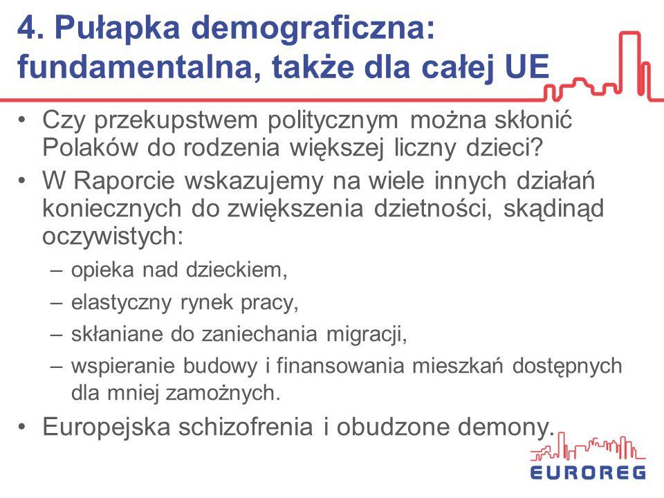 4. Pułapka demograficzna: fundamentalna, także dla całej UE Czy przekupstwem politycznym można skłonić Polaków do rodzenia większej liczny dzieci? W R
