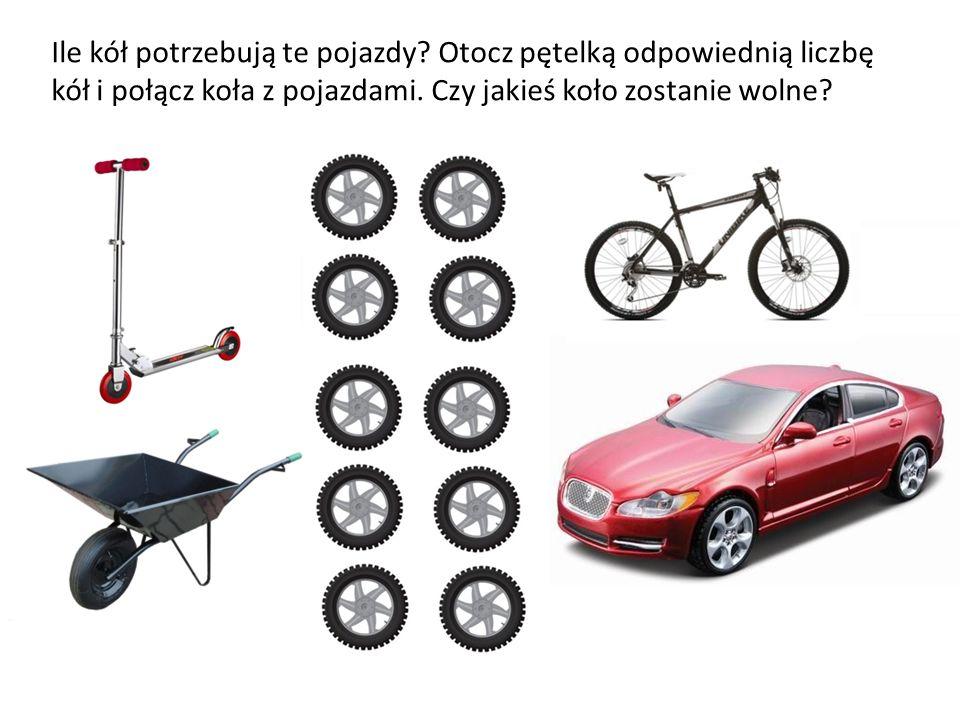 Ile kół potrzebują te pojazdy? Otocz pętelką odpowiednią liczbę kół i połącz koła z pojazdami. Czy jakieś koło zostanie wolne?