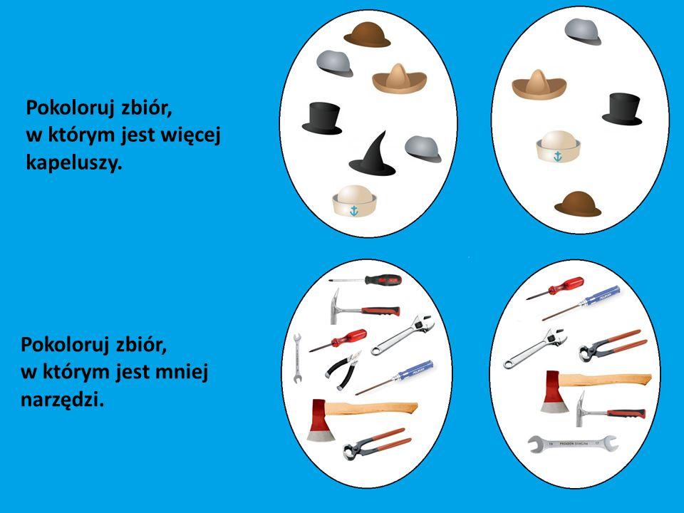Pokoloruj zbiór, w którym jest więcej kapeluszy. Pokoloruj zbiór, w którym jest mniej narzędzi.