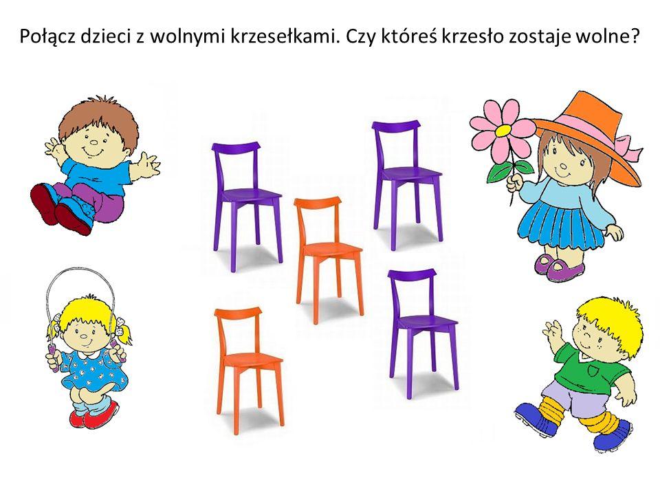Połącz dzieci z wolnymi krzesełkami. Czy któreś krzesło zostaje wolne?