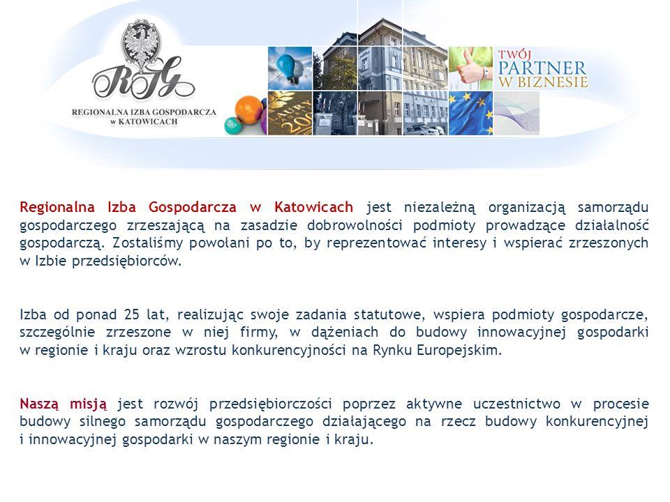 Długoterminowe cele strategiczne Izby  Integracja Członków Izby  Wzrost roli samorządu gospodarczego  Rozwój przedsiębiorstw, w szczególności sektora MŚP w zakresie wzrostu innowacyjności i konkurencyjności  Współpraca międzynarodowa przedsiębiorstw  Promowanie postaw przedsiębiorczych młodych ludzi i rozwoju młodych przedsiębiorców  Propagowanie zasad społecznej odpowiedzialności i etyki w biznesie