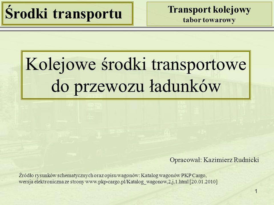 12 Środki transportu Transport kolejowy tabor towarowy Klasyfikacja wagonów towarowych Kryterium: przeznaczenie i cechy konstrukcyjne Wagony węglarki specjalnej budowy Źródło: http://www.wagony.net/index.php?url=galeriaShow&type=F [20.01.2010] Typ wagonu Fac Źródło: http://www.oossro.cz/opravazkv.php [20.01.2010] Wagon węglarka budowy specjalnej, 4-osiowy, z rozładunkiem samoczynnym grawitacyjnym, jedno- stronnym - przez obrót pudła o kąt 45 O uruchamianym ręcznie, z wysoko usytuowanymi zsypami.