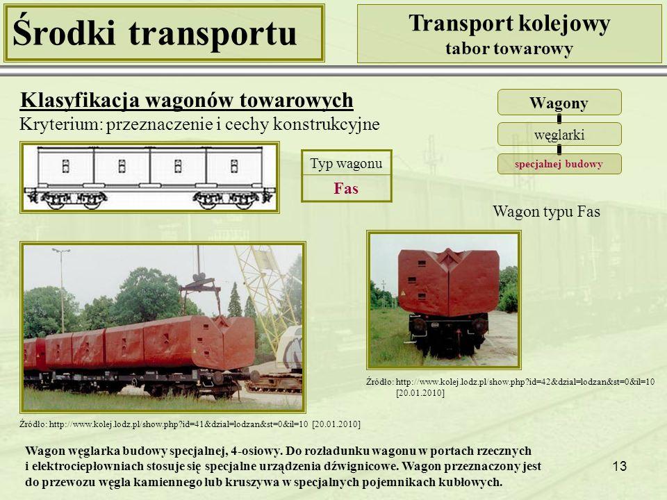 13 Środki transportu Transport kolejowy tabor towarowy Klasyfikacja wagonów towarowych Kryterium: przeznaczenie i cechy konstrukcyjne Wagony węglarki specjalnej budowy Wagon typu Fas Źródło: http://www.kolej.lodz.pl/show.php?id=42&dzial=lodzan&st=0&il=10 [20.01.2010] Źródło: http://www.kolej.lodz.pl/show.php?id=41&dzial=lodzan&st=0&il=10 [20.01.2010] Typ wagonu Fas Wagon węglarka budowy specjalnej, 4-osiowy.