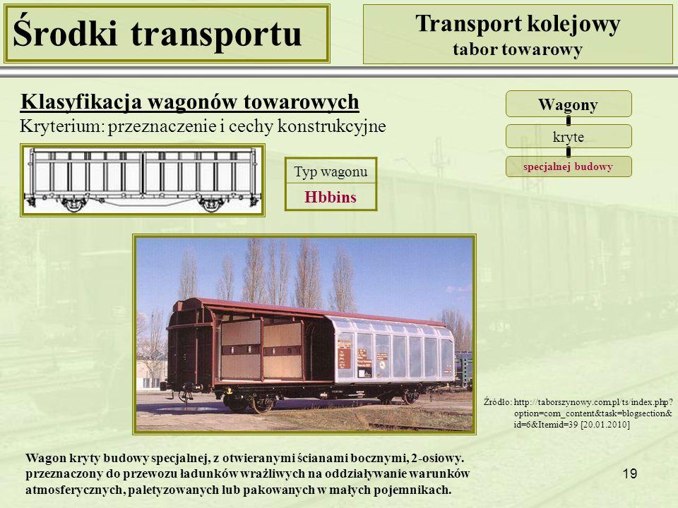 19 Środki transportu Transport kolejowy tabor towarowy Klasyfikacja wagonów towarowych Kryterium: przeznaczenie i cechy konstrukcyjne Wagony kryte specjalnej budowy Źródło: http://taborszynowy.com.pl/ts/index.php.