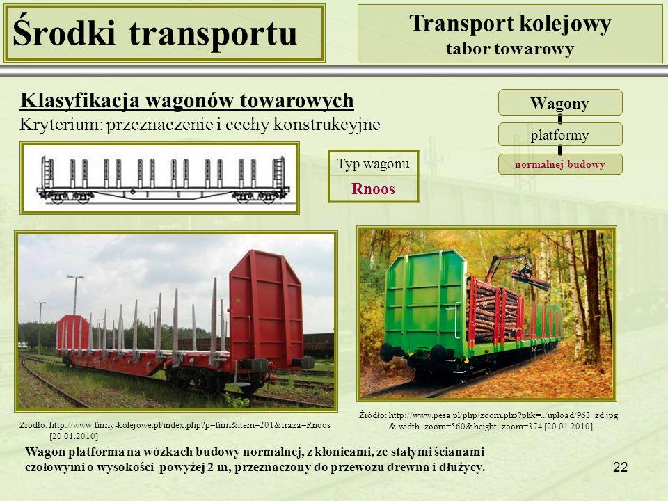 22 Środki transportu Transport kolejowy tabor towarowy Klasyfikacja wagonów towarowych Kryterium: przeznaczenie i cechy konstrukcyjne Wagony platformy normalnej budowy Źródło: http://www.firmy-kolejowe.pl/index.php?p=firm&item=201&fraza=Rnoos [20.01.2010] Źródło: http://www.pesa.pl/php/zoom.php?plik=../upload/963_zd.jpg & width_zoom=560& height_zoom=374 [20.01.2010] Typ wagonu Rnoos Wagon platforma na wózkach budowy normalnej, z kłonicami, ze stałymi ścianami czołowymi o wysokości powyżej 2 m, przeznaczony do przewozu drewna i dłużycy.