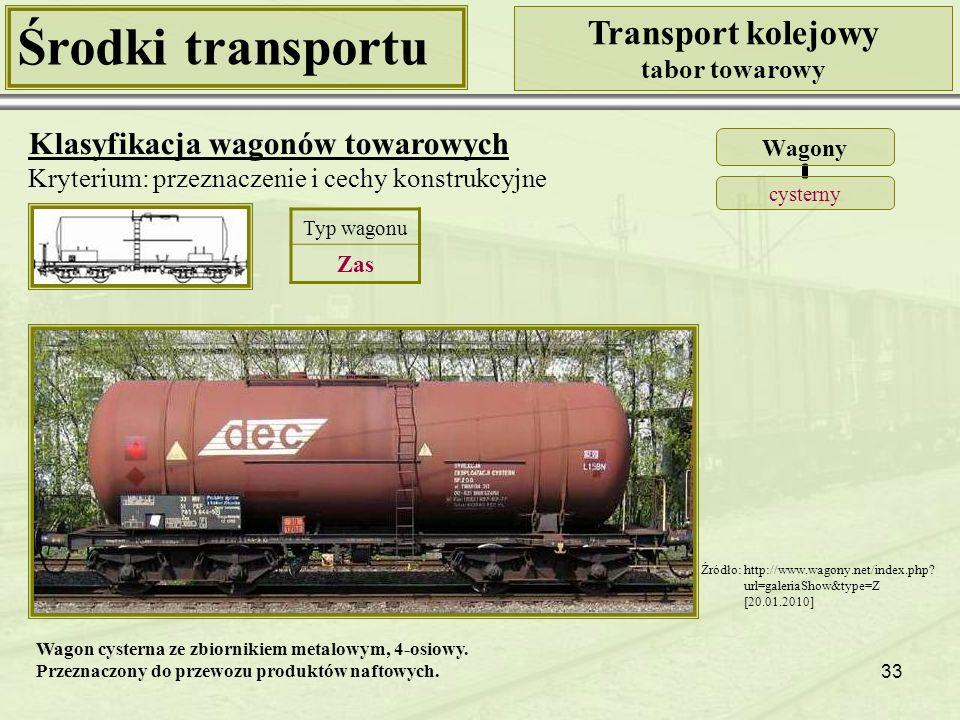 33 Środki transportu Transport kolejowy tabor towarowy Klasyfikacja wagonów towarowych Kryterium: przeznaczenie i cechy konstrukcyjne Wagony cysterny Typ wagonu Zas Źródło: http://www.wagony.net/index.php.