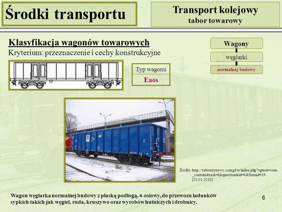 6 Środki transportu Transport kolejowy tabor towarowy Klasyfikacja wagonów towarowych Kryterium: przeznaczenie i cechy konstrukcyjne Wagony węglarki normalnej budowy Źródło: http://taborszynowy.com.pl/ts/index.php?option=com _content&task=blogsection&id=6&Itemid=39 [20.01.2010] Typ wagonu Eaos Wagon węglarka normalnej budowy z płaską podłogą, 4-osiowy, do przewozu ładunków sypkich takich jak węgiel, ruda, kruszywo oraz wyrobów hutniczych i drobnicy.