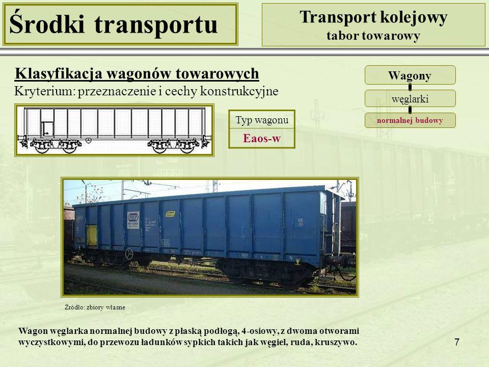 38 Środki transportu Transport kolejowy tabor towarowy Klasyfikacja wagonów towarowych Kryterium: przeznaczenie i cechy konstrukcyjne Wagony specjalne Typ wagonu Ucs Źródło: http://www.wagony.net/index.php?url=galeriaShow&type=U [20.01.2010] Źródło: www.cement.pl [20.01.2010] Wagon specjalny 2-osiowy, trzy- i dwuzbiornikowy, do przewozu cementu, z rozładunkiem pod ciśnieniem.