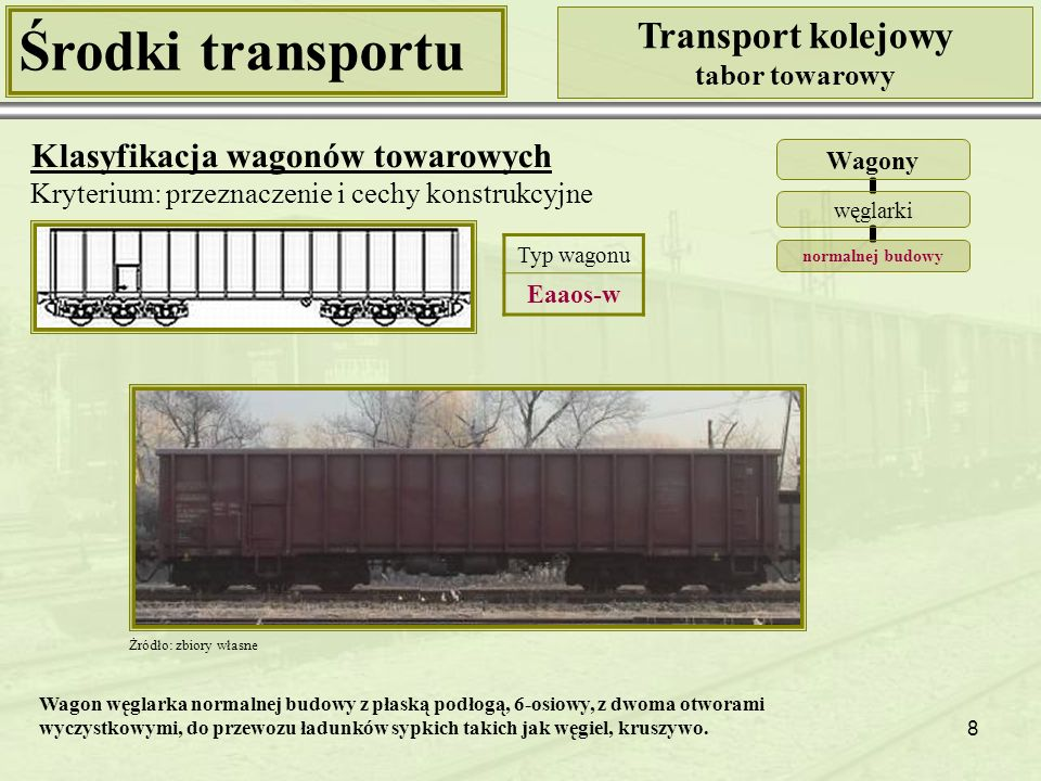 8 Środki transportu Transport kolejowy tabor towarowy Klasyfikacja wagonów towarowych Kryterium: przeznaczenie i cechy konstrukcyjne Wagony węglarki normalnej budowy Żródło: zbiory własne Typ wagonu Eaaos-w Wagon węglarka normalnej budowy z płaską podłogą, 6-osiowy, z dwoma otworami wyczystkowymi, do przewozu ładunków sypkich takich jak węgiel, kruszywo.