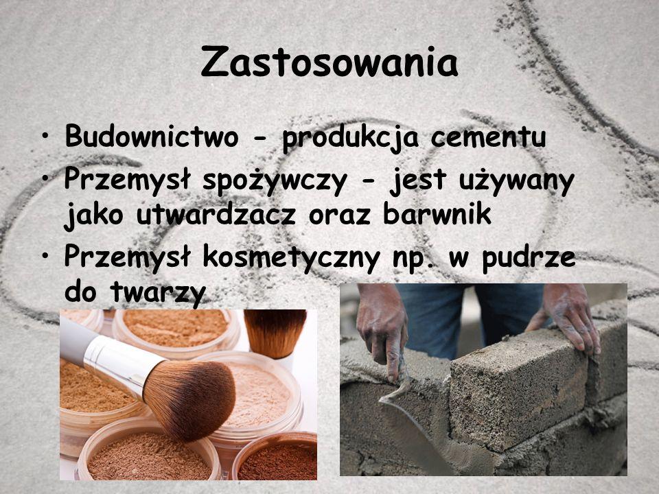 Zastosowania Budownictwo - produkcja cementu Przemysł spożywczy - jest używany jako utwardzacz oraz barwnik Przemysł kosmetyczny np.
