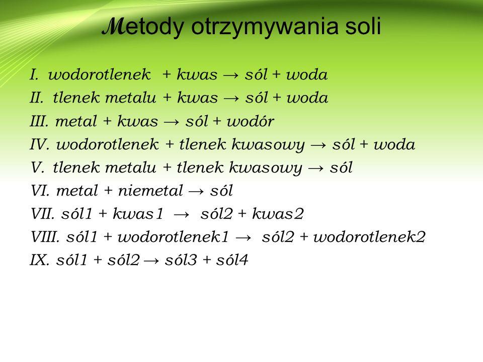 M etody otrzymywania soli I.wodorotlenek + kwas → sól + woda II.
