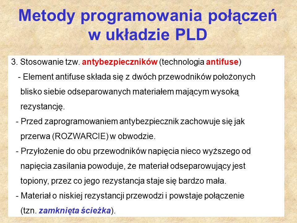 Metody programowania połączeń w układzie PLD 3. Stosowanie tzw.