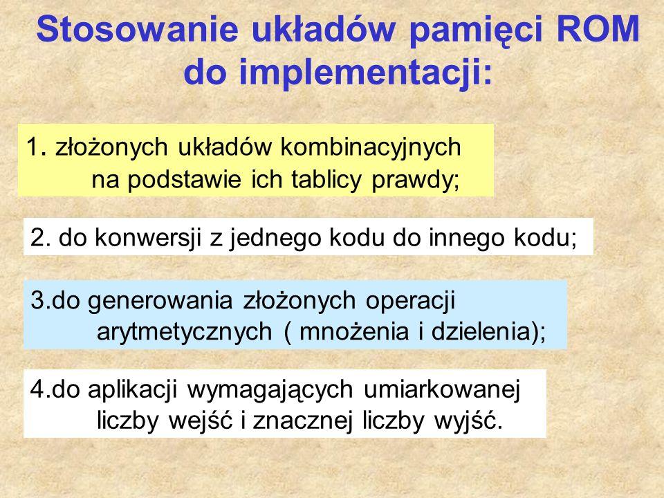 Stosowanie układów pamięci ROM do implementacji: 1.