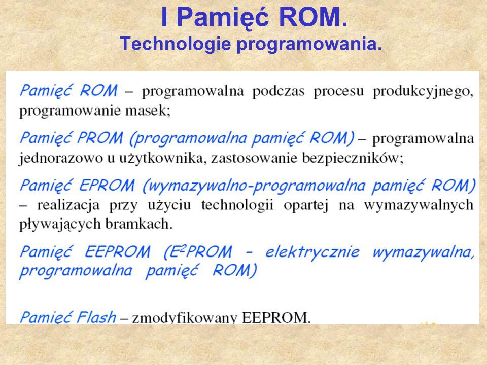 I Pamięć ROM. Technologie programowania.