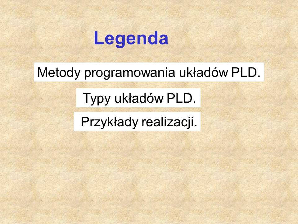 Legenda Metody programowania układów PLD. Przykłady realizacji. Typy układów PLD.
