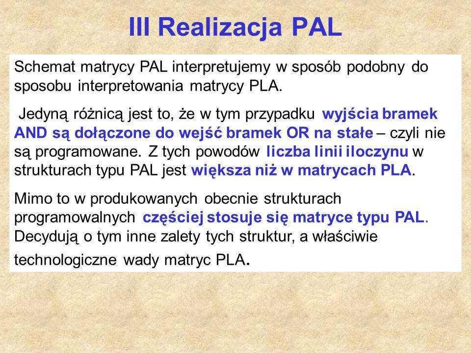III Realizacja PAL Schemat matrycy PAL interpretujemy w sposób podobny do sposobu interpretowania matrycy PLA.