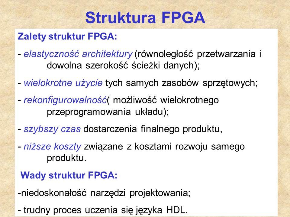 Struktura FPGA Zalety struktur FPGA: - elastyczność architektury (równoległość przetwarzania i dowolna szerokość ścieżki danych); - wielokrotne użycie tych samych zasobów sprzętowych; - rekonfigurowalność( możliwość wielokrotnego przeprogramowania układu); - szybszy czas dostarczenia finalnego produktu, - niższe koszty związane z kosztami rozwoju samego produktu.