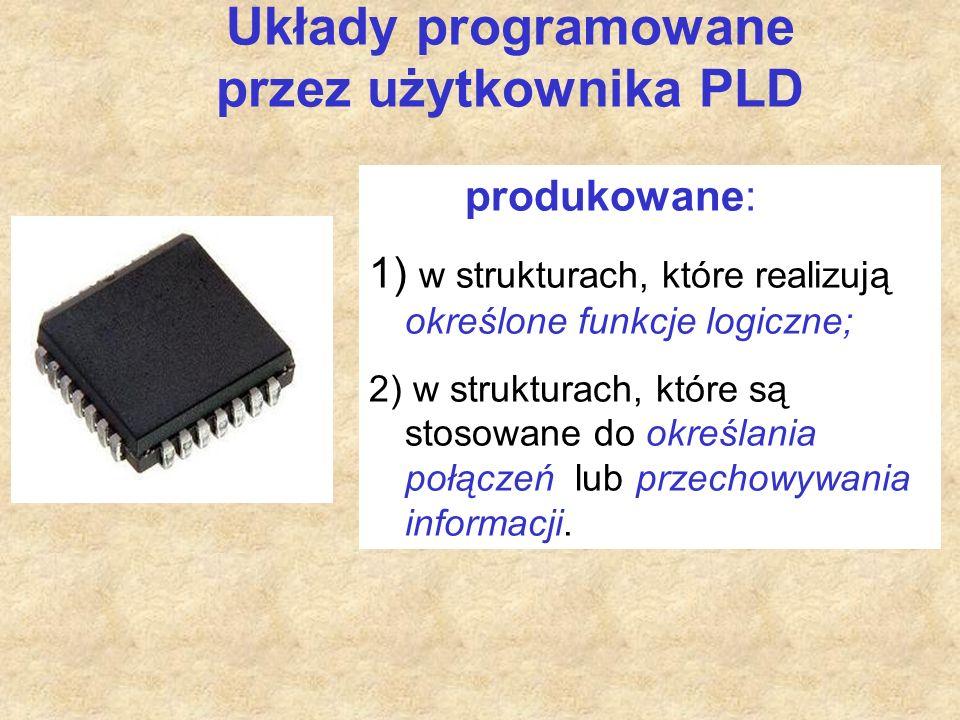 Układy programowane przez użytkownika PLD produkowane: 1) w strukturach, które realizują określone funkcje logiczne; 2) w strukturach, które są stosowane do określania połączeń lub przechowywania informacji.