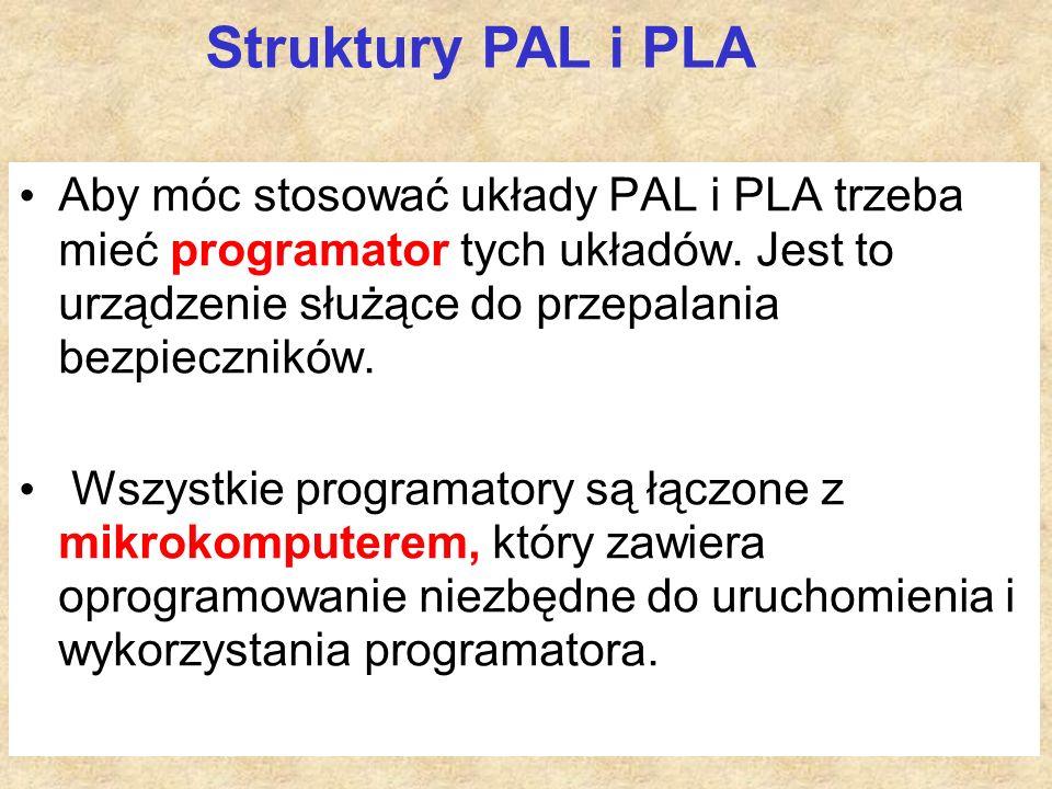 Aby móc stosować układy PAL i PLA trzeba mieć programator tych układów.