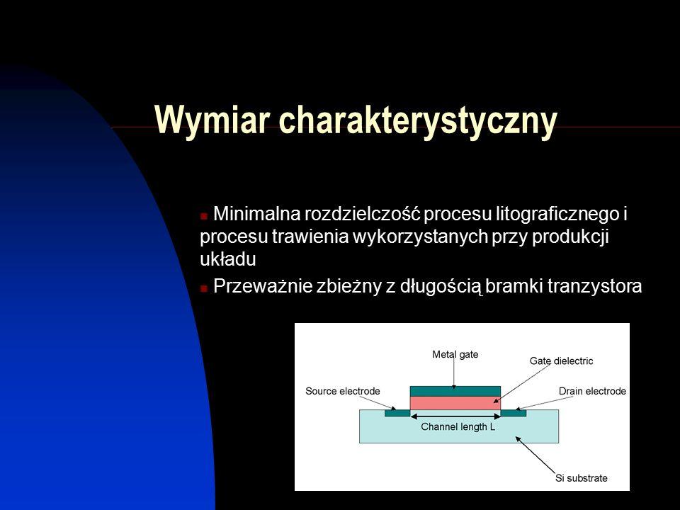 Wymiar charakterystyczny Minimalna rozdzielczość procesu litograficznego i procesu trawienia wykorzystanych przy produkcji układu Przeważnie zbieżny z długością bramki tranzystora