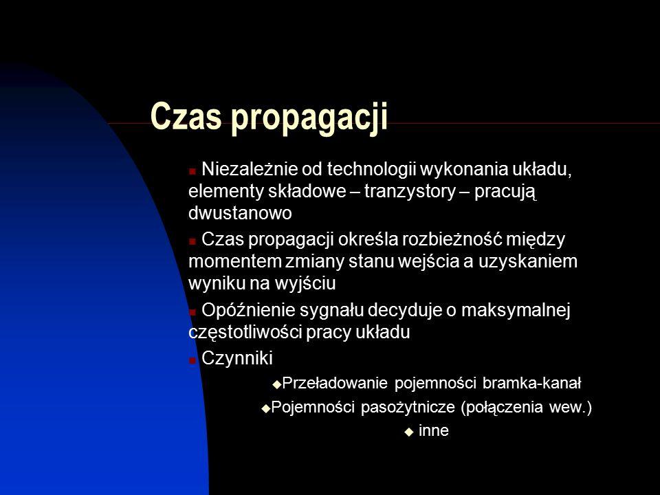 Czas propagacji Niezależnie od technologii wykonania układu, elementy składowe – tranzystory – pracują dwustanowo Czas propagacji określa rozbieżność