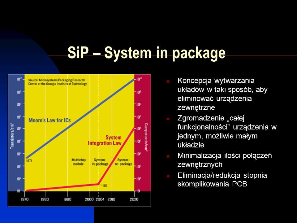 """SiP – System in package Koncepcja wytwarzania układów w taki sposób, aby eliminować urządzenia zewnętrzne Zgromadzenie """"całej funkcjonalności urządzenia w jednym, możliwie małym układzie Minimalizacja ilości połączeń zewnętrznych Eliminacja/redukcja stopnia skomplikowania PCB"""