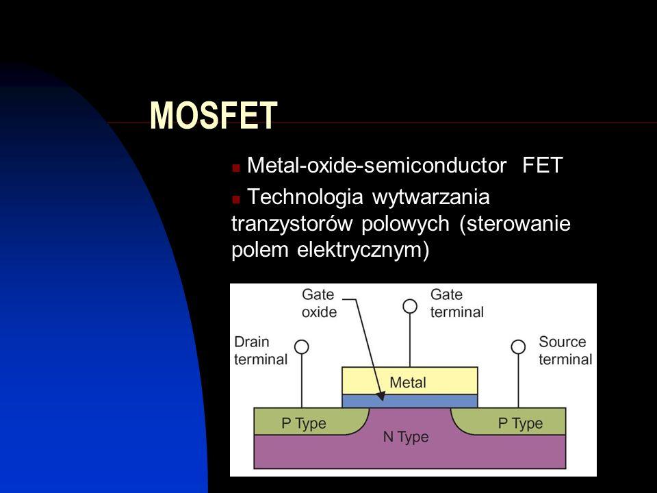 MOSFET Metal-oxide-semiconductor FET Technologia wytwarzania tranzystorów polowych (sterowanie polem elektrycznym)