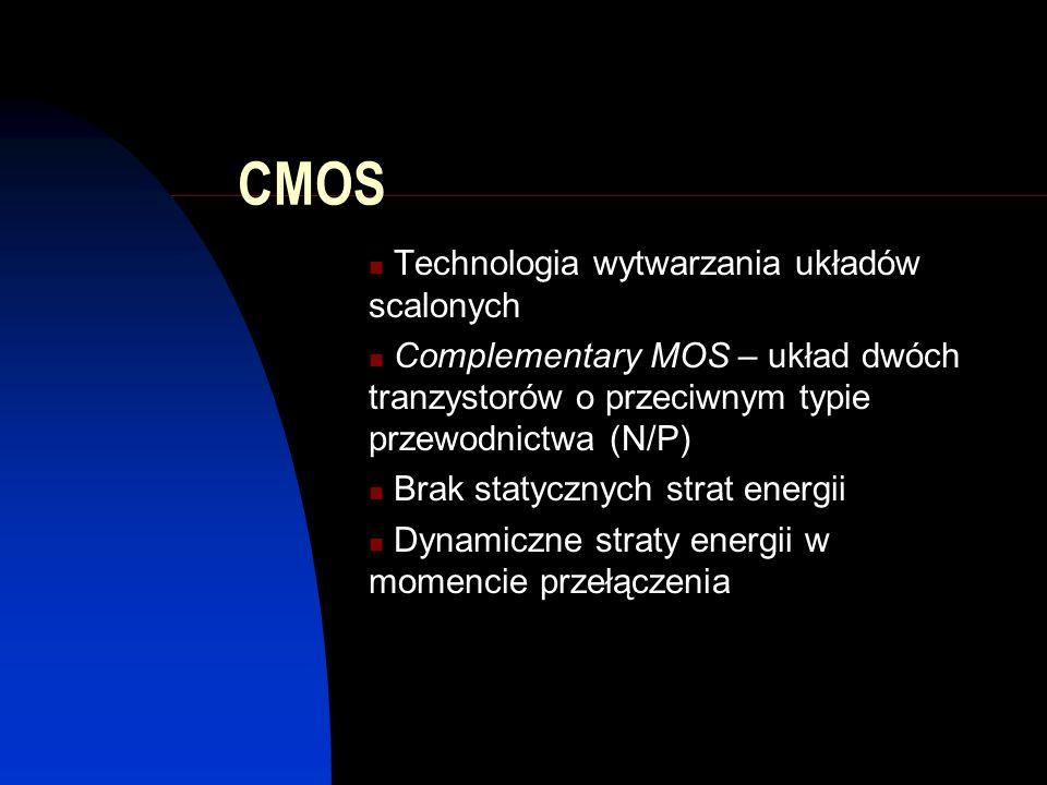CMOS Technologia wytwarzania układów scalonych Complementary MOS – układ dwóch tranzystorów o przeciwnym typie przewodnictwa (N/P) Brak statycznych st