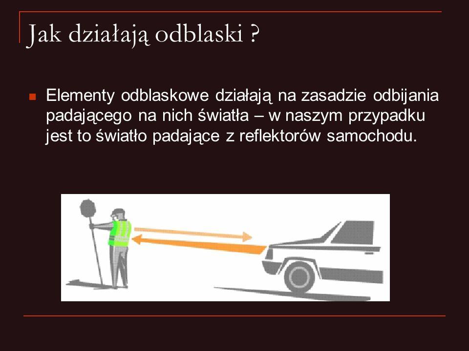 Nocą pieszy ubrany na ciemno bez odblasków, staje się widoczny dla kierowcy samochodu z odległości zaledwie 20 metrów.