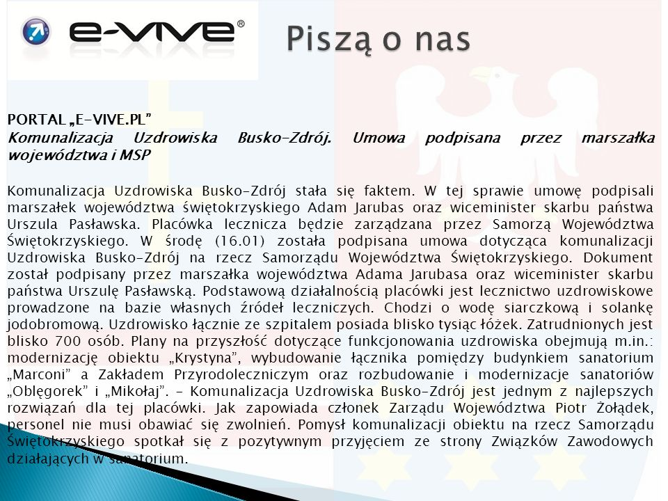 "PORTAL ""E-VIVE.PL Komunalizacja Uzdrowiska Busko-Zdrój."
