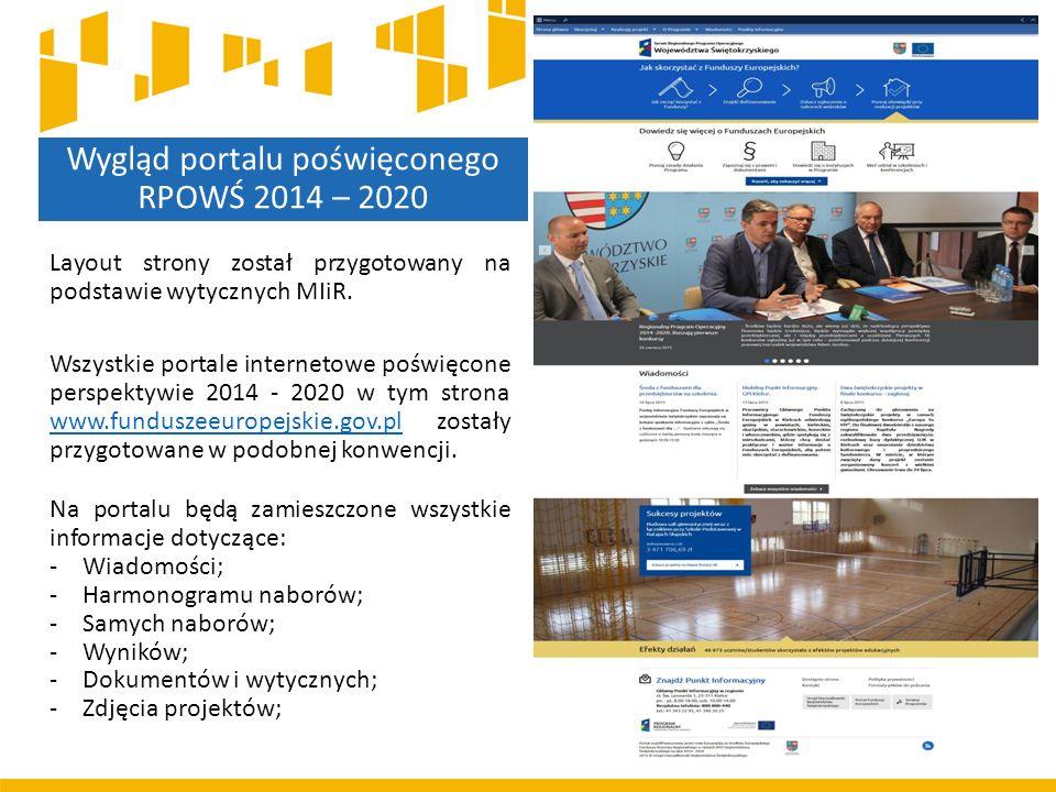 Wygląd portalu poświęconego RPOWŚ 2014 – 2020 Layout strony został przygotowany na podstawie wytycznych MIiR. Wszystkie portale internetowe poświęcone