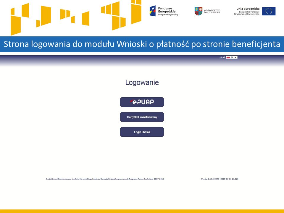 Strona logowania do modułu Wnioski o płatność po stronie beneficjenta