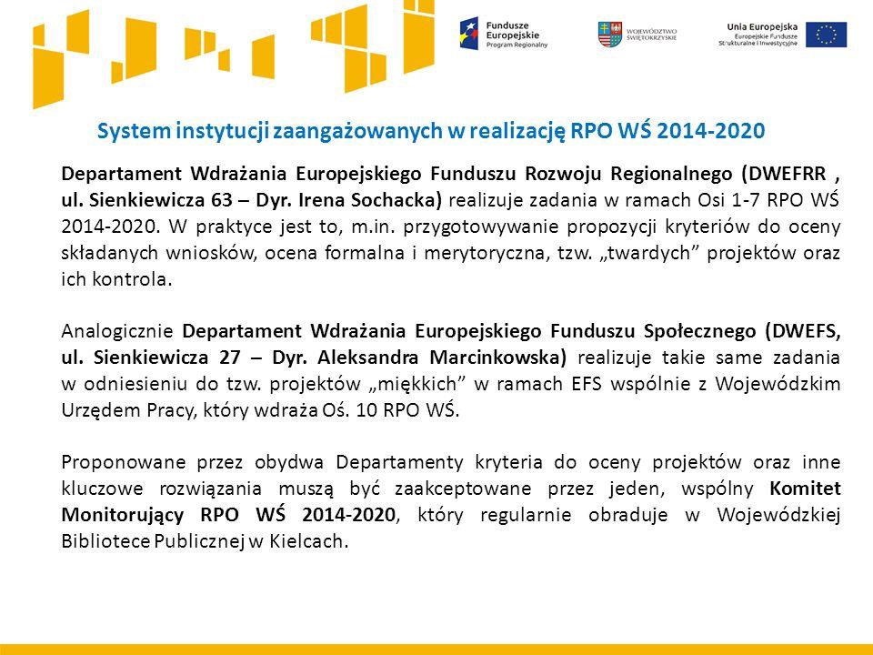 System instytucji zaangażowanych w realizację RPO WŚ 2014-2020 Departament Wdrażania Europejskiego Funduszu Rozwoju Regionalnego (DWEFRR, ul. Sienkiew