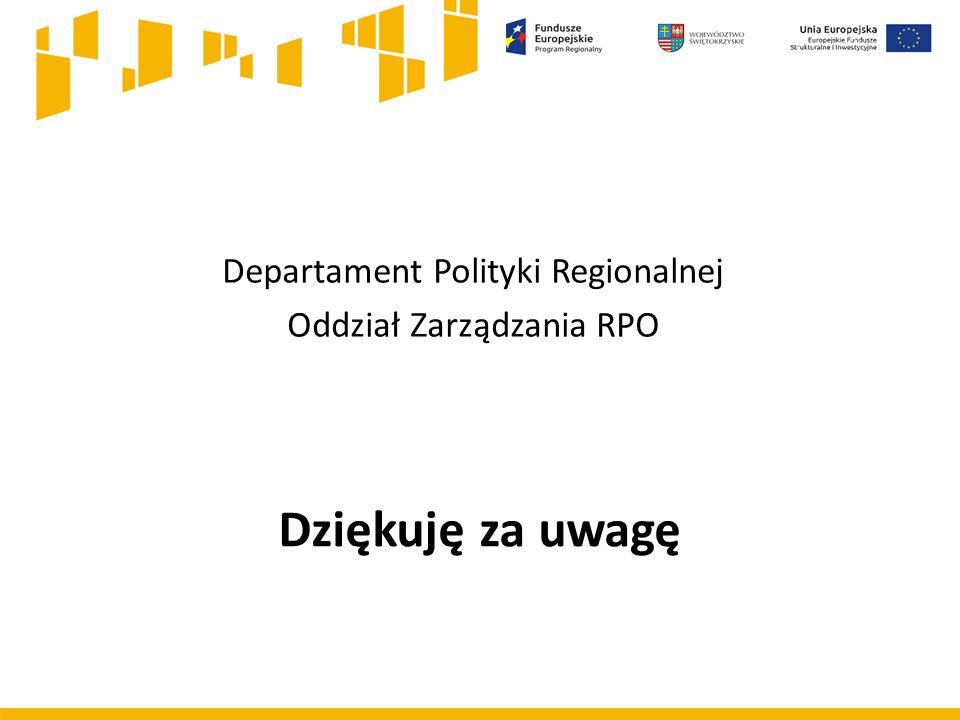 Dziękuję za uwagę Departament Polityki Regionalnej Oddział Zarządzania RPO