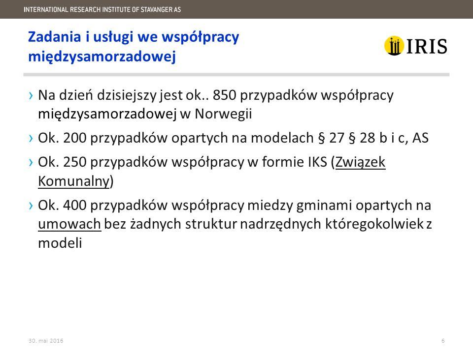 ›Na dzień dzisiejszy jest ok.. 850 przypadków współpracy międzysamorzadowej w Norwegii ›Ok.