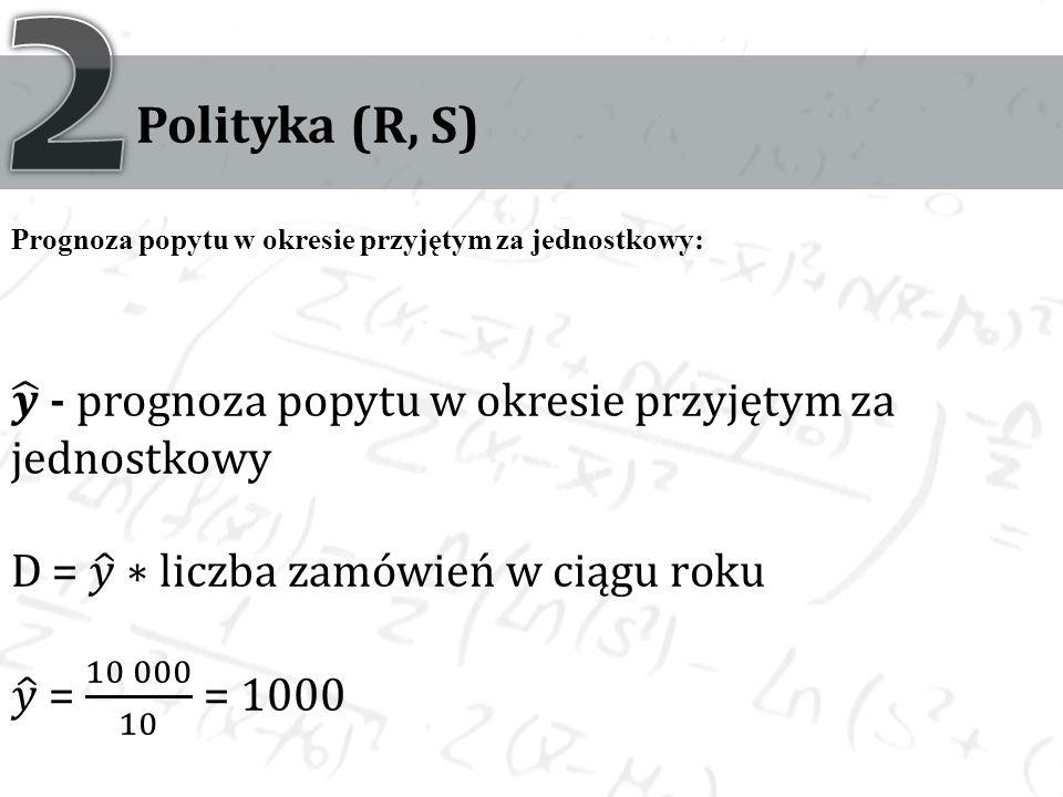 Polityka (R, S) Prognoza popytu w okresie przyjętym za jednostkowy: