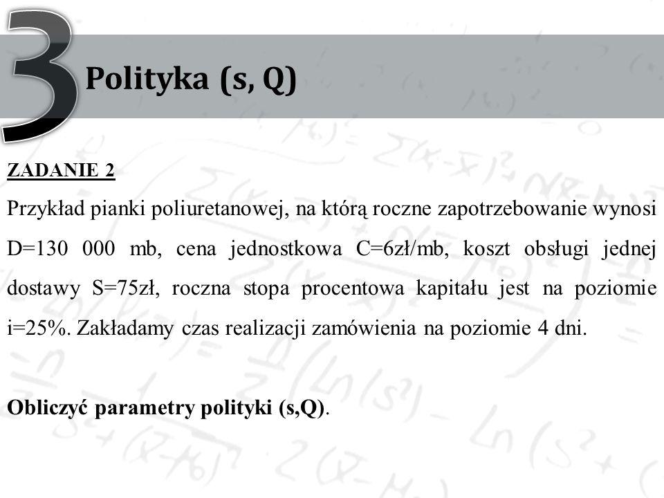 Polityka (s, Q) ZADANIE 2 Przykład pianki poliuretanowej, na którą roczne zapotrzebowanie wynosi D=130 000 mb, cena jednostkowa C=6zł/mb, koszt obsług