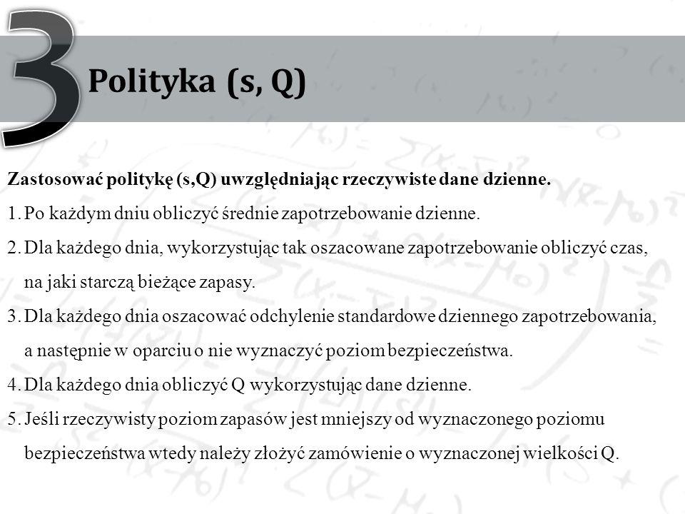 Polityka (s, Q) Zastosować politykę (s,Q) uwzględniając rzeczywiste dane dzienne. 1.Po każdym dniu obliczyć średnie zapotrzebowanie dzienne. 2.Dla każ