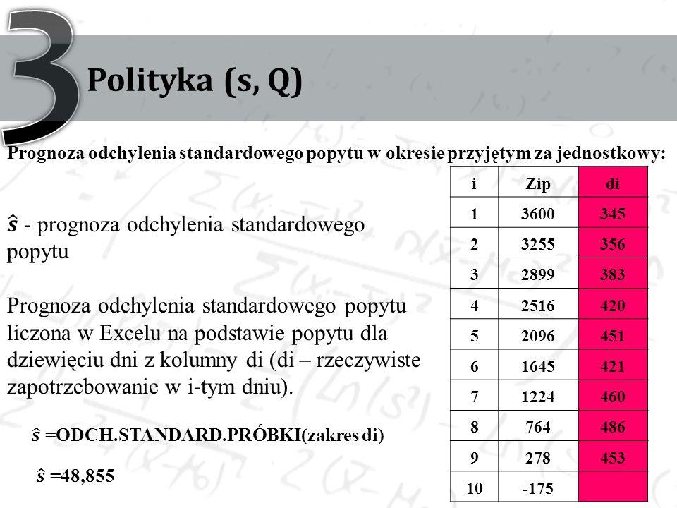 Polityka (s, Q) Prognoza odchylenia standardowego popytu w okresie przyjętym za jednostkowy: iZipdi 13600345 23255356 32899383 42516420 52096451 61645