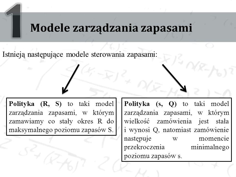 Modele zarządzania zapasami Istnieją następujące modele sterowania zapasami: Polityka (R, S) to taki model zarządzania zapasami, w którym zamawiamy co