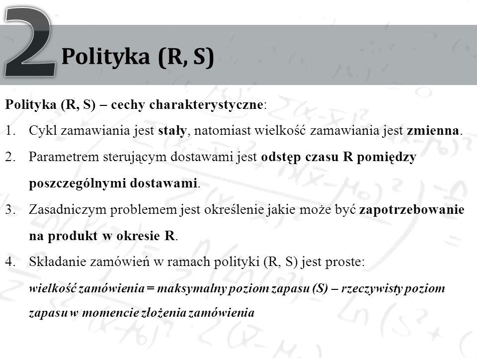 Polityka (R, S) Polityka (R, S) – cechy charakterystyczne: 1.Cykl zamawiania jest stały, natomiast wielkość zamawiania jest zmienna. 2.Parametrem ster