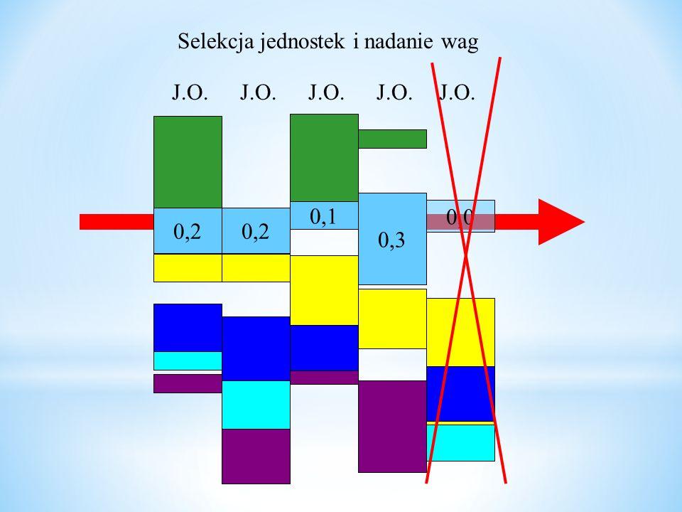 0,2 0,1 0,3 0,0 0,2 J.O. Selekcja jednostek i nadanie wag