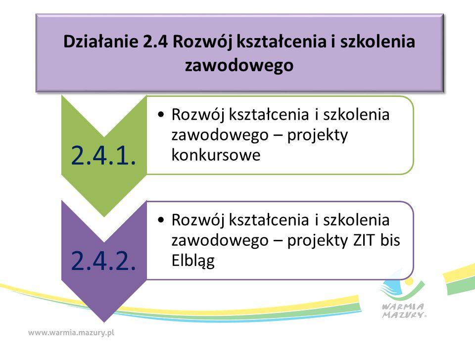 Poddziałanie 2.4.1 Zwiększenie zatrudnialności uczniów szkół i placówek prowadzących kształcenie zawodowe, w szczególności poprzez poprawę jakości kształcenia zawodowego.