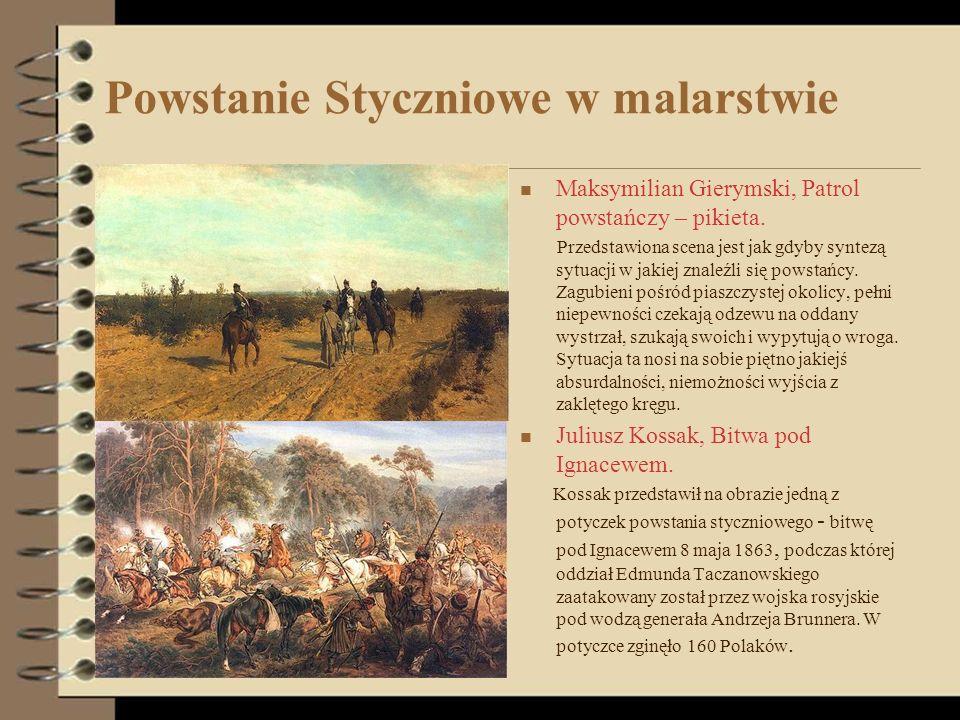Powstanie Styczniowe w malarstwie Maksymilian Gierymski, Patrol powstańczy – pikieta. Przedstawiona scena jest jak gdyby syntezą sytuacji w jakiej zna