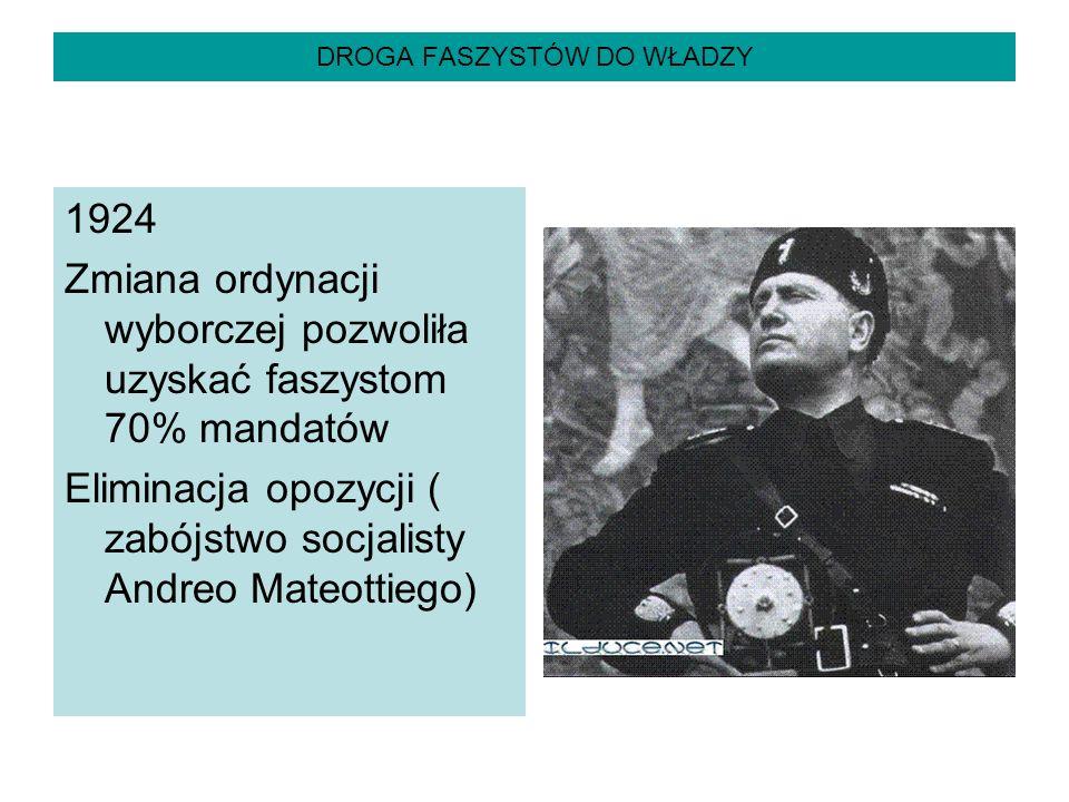 DROGA FASZYSTÓW DO WŁADZY 1924 Zmiana ordynacji wyborczej pozwoliła uzyskać faszystom 70% mandatów Eliminacja opozycji ( zabójstwo socjalisty Andreo M