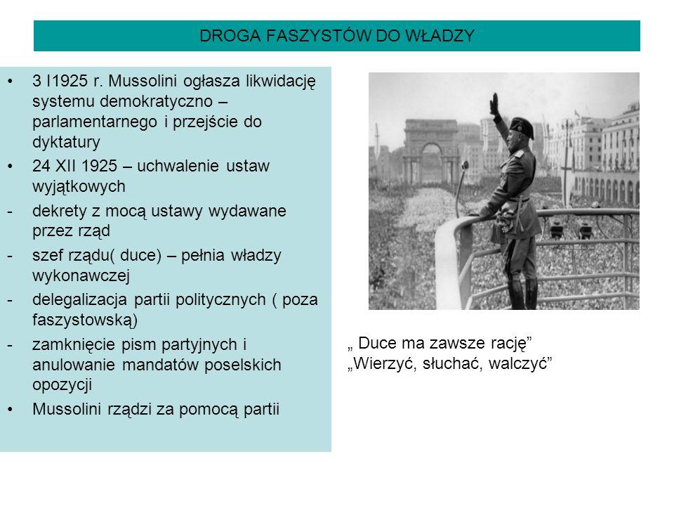 DROGA FASZYSTÓW DO WŁADZY 3 I1925 r. Mussolini ogłasza likwidację systemu demokratyczno – parlamentarnego i przejście do dyktatury 24 XII 1925 – uchwa
