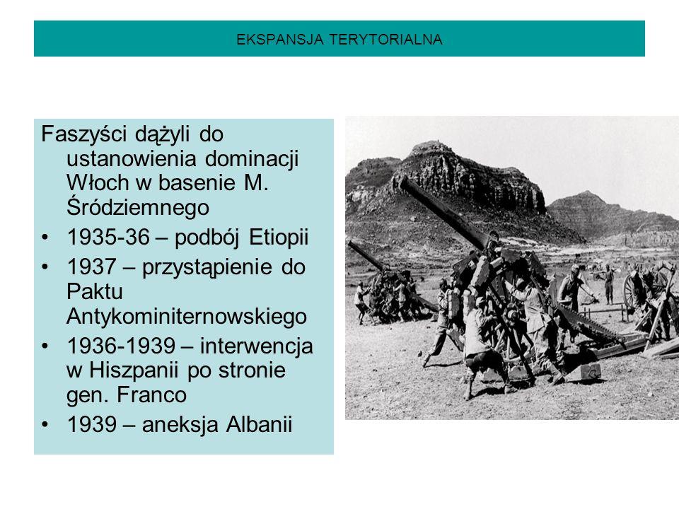 EKSPANSJA TERYTORIALNA Faszyści dążyli do ustanowienia dominacji Włoch w basenie M. Śródziemnego 1935-36 – podbój Etiopii 1937 – przystąpienie do Pakt